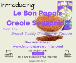 ad for le bon papa seasonings