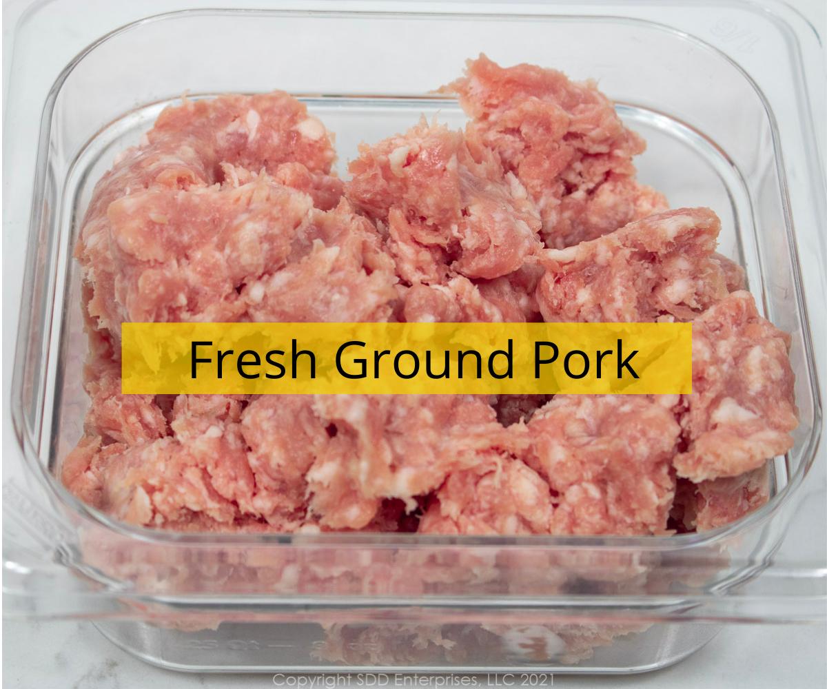 fresh ground pork in a cambro prep bowl