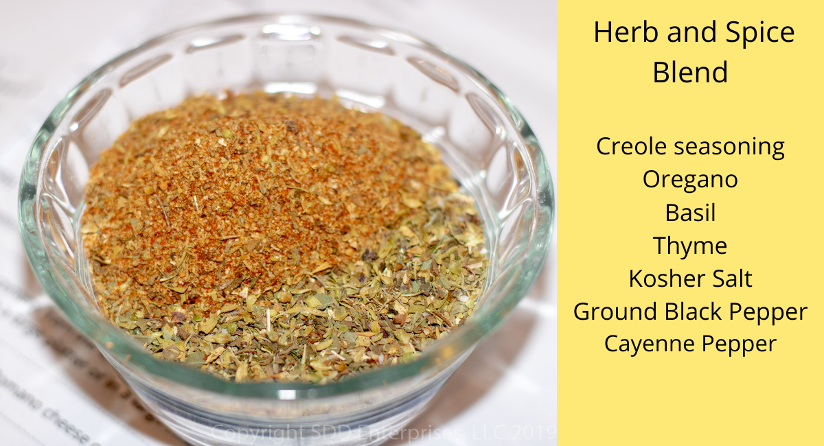 herbs and spices in a prep bowl