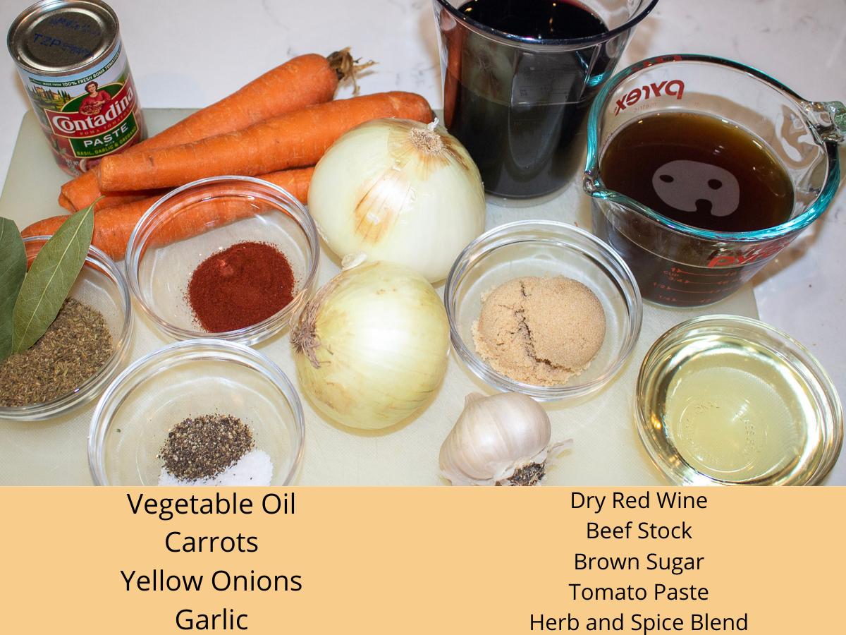 ingredients for braised beef short ribs