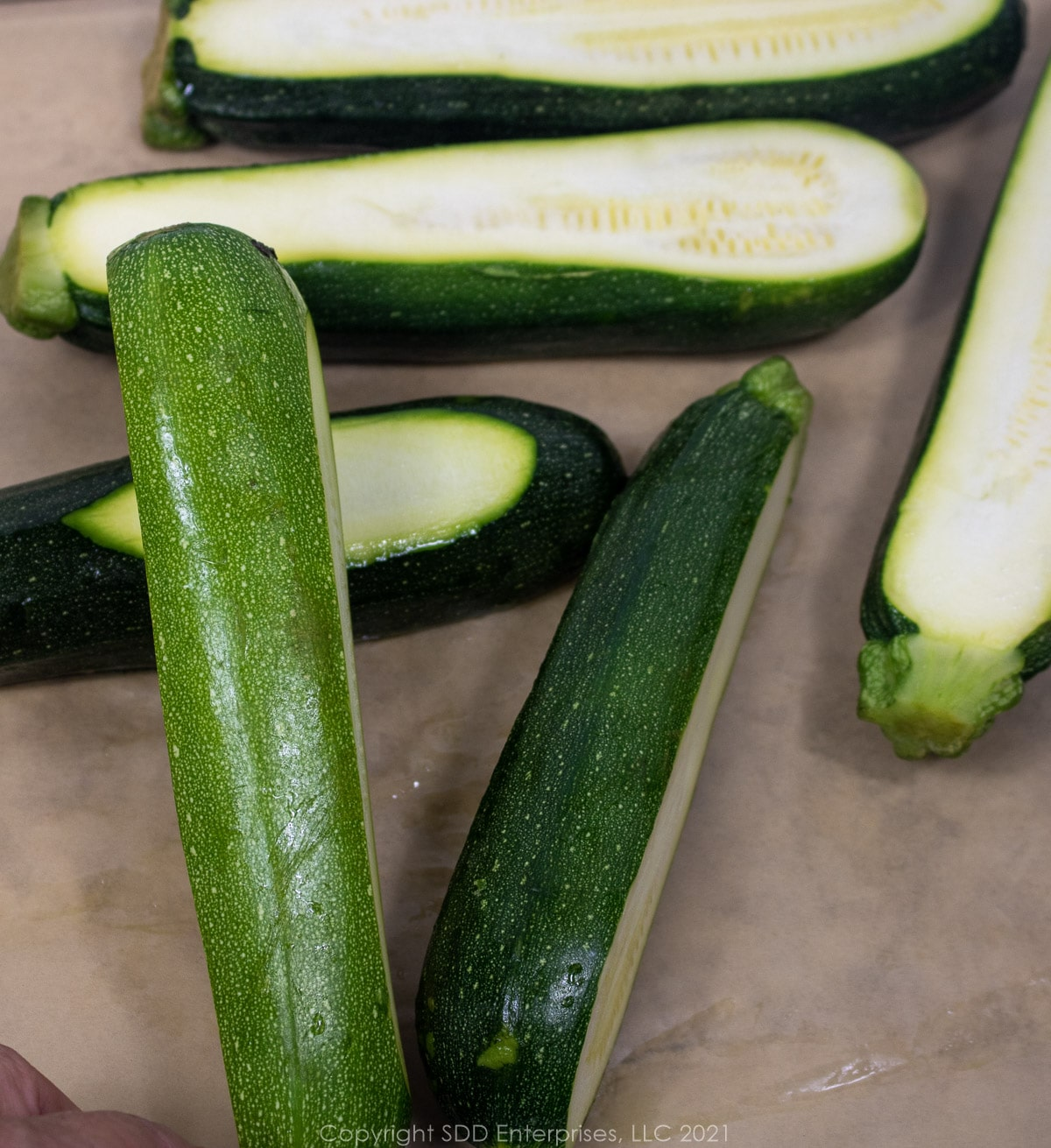 zucchini sliced for stffing