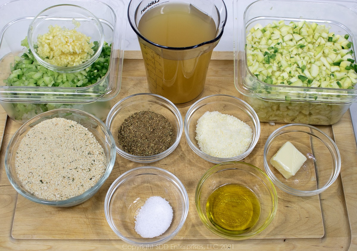 prepared ingredients for stuffing zucchini