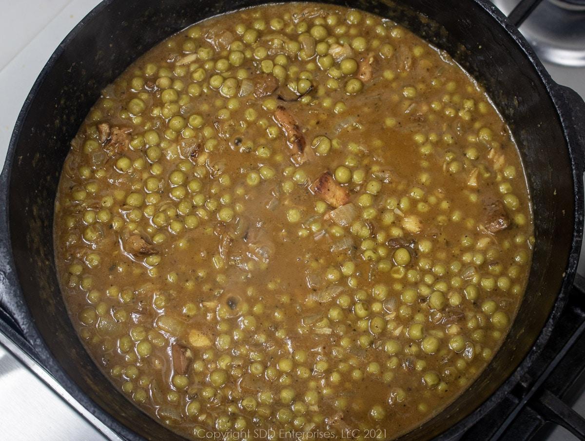 peas in a roux in a Dutch oven
