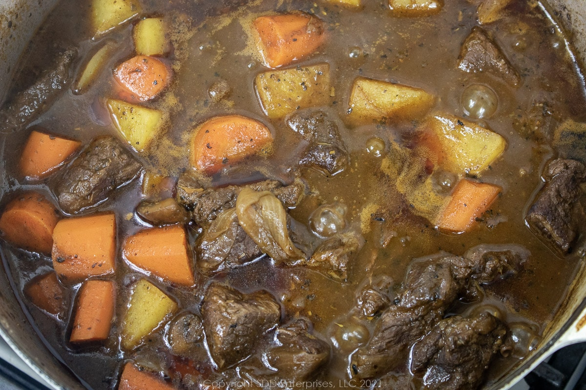 beef stew in a Dutch oven