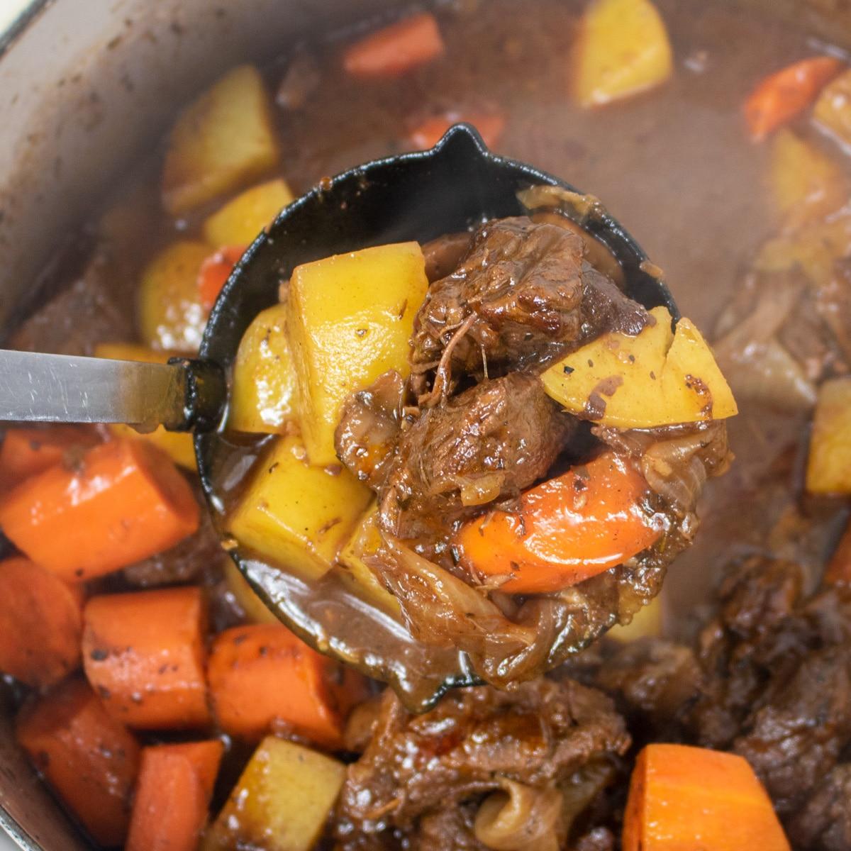 beef stew with potatoes and carrots in a ladle